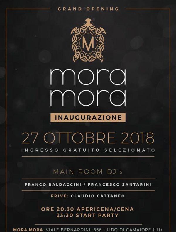MORA MORA Inaugurazione Sabato 27 Ottobre 2018